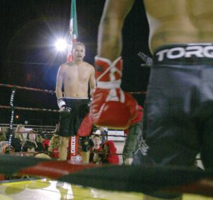Pro boxer Duran Caferro, fighting as a welterweight, Three Forks, Mont., Aug. 22.